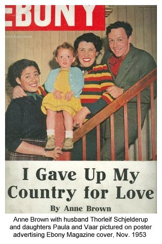Anne Brown with husband Thorleif Schjelderup and daughters Paula and Vaar pictured on poster advertising Ebony Magazine cover, Nov. 1953