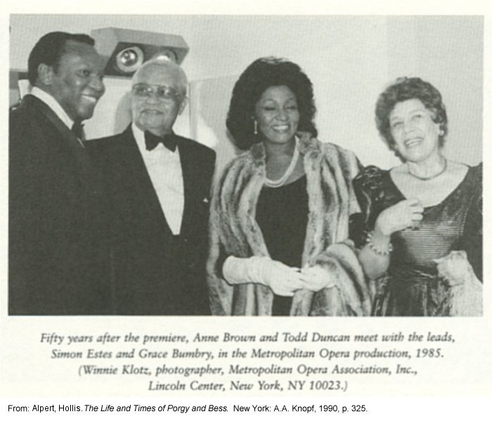 Fifty years after the premiere, Anne Wiggins Brown and Todd Duncan meet with the leads, Simon Estes and Grace Bumbry, in the Metropolitan Opera production, 1985